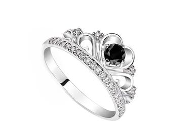 princess crown ring tiara ring tiara promise ring for her black engagement ring crown promise ring - Crown Wedding Ring