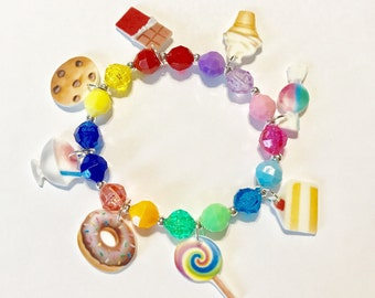 "Emoji ""Sweet Treats"" Charm Bracelet, Emoji Charm Bracelet, Emoji Jewelry, Emoji Charms, Emoji Party Favor, Emoji"