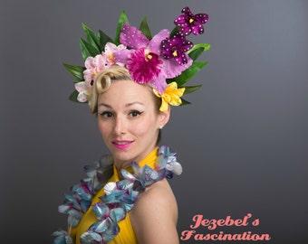 Luau Oahu Bloom Tiki Jungle Orchids Flower Crown Purple Tropical Headdress Exotic Floral Headpiece Pacific Festival Fascinator Hawaiian