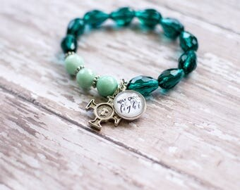 St Benedict Medal Rosary Bracelet, Holy Cross Be My Light Teal Rosary, Exorcism Cross Jewelry, Catholic Baptism Gift, 602053