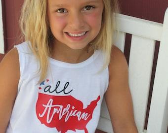 All American Girl - Patriotic - Fringe Dress - Fringe Tank Top - America - 'Merica - All America Girl - Fourth of July - Celebration Shirt