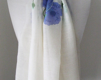 White Infinity Scarf with blue flowers & green leaves - Long and light weight for spring and summer
