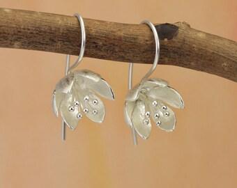 Water Lily Hook Earrings / Silver Flower Earrings / Drop Earrings / Earrings for Pierced Ears / Silver jewellery