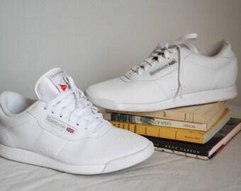 reebok classic white princess sneakers size 9 tennis shoes 80s 90s