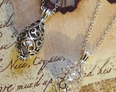 Filigree Teardrop Urn with Glass Orb |2 Style Choices| Keepsake Necklace | Urn Jewelry | Cremation Jewelry | Locket | Fillable Jewelry