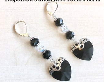925 Silver earrings and black Swarovski Crystal hearts