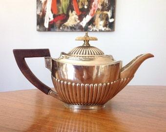 Antique sterling silver small teapot - Roberts & Belk, Sheffield - Bachelor teapot - 1890s