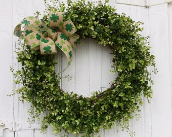 St. Patrick's Day Wreath, Shamrock Wreath, Front Door Wreath, Green Wreath, Greenery Wreath, Irish Wreath, Boxwood Wreath, Outdoor Wreath