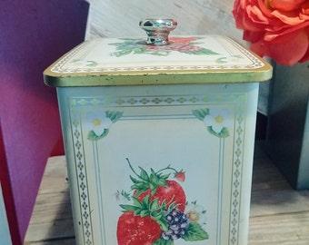 Knott's Berry Farm Tin,  strawberry tin, Knott's Berry Far, country kitchen, raspberry, strawberry, yellow, gold tin, vintage tin