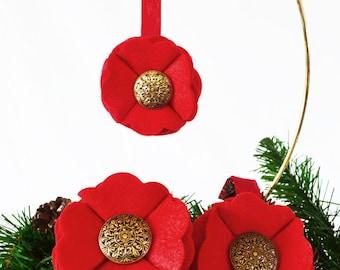 Vintage Handmade Red Felt Christmas Ornament Scalloped Felt Ornament