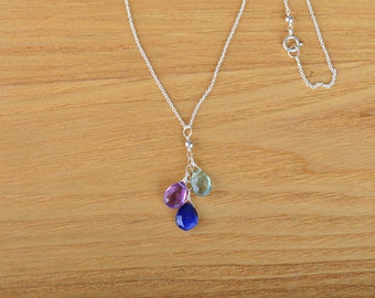 Family Birthstone Necklace, Mothers Necklace Natural Birthstone Family Necklace Custom Y Necklace, Gift for Mom: Rose Gold, Sterling Silver