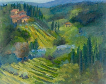 Italian Landscape, Italian Vineyard, Painting of Tuscany, Italy painting, Italian Landscape, 10 x 10 Original Oil Painting by Sue Whitney