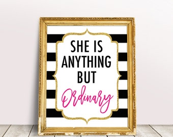 Kate Bridal Shower Decorations, She Is Anything But Ordinary Sign, Black White Stripes Baby Shower, Spade Inspired, Kate Party Sign Decor