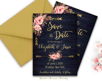 Navy Blue Wedding Save The Date Invitation Printable Blush Pink Floral Save The Date Card Rustic Wedding Bohemian Wedding Invitation