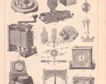 Antique Telegraph Print - Monochrome Radio and Communication print from 1890