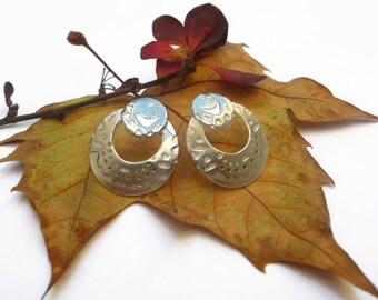 Smile Stud Earrings, Sterling Silver Earrrings, Texture Earrings, Hoop Earrings,  Handcrafted Artisian arrings,  Modern Earrings, Silver 925