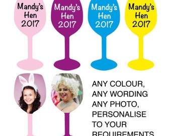 Hen party personalised table confetti, any colour and photo, wine glass shape, good fun item