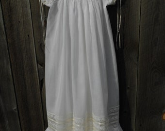 Christening Gown and Bonnet- Heirloom Style - sz 0-6 mo.