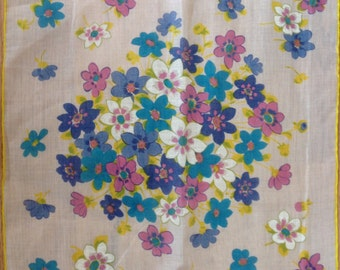 Kreier 100% Cotton Handkerchief - Floral Design in Yellow, Lilac, White and Blue - New and Unused From Vintage 1970s Stock