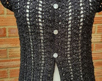 Black Crochet Cardigan/Sparkly Cardigan/Lacy Cardigan/Pearly Buttons/Shiny Black Cardigan/Funeral crochet/ Sparkly Crochet/Glittery Cardigan