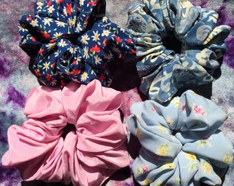 Huge 90s Scrunchies - Super Ruffled Vintage Hair Accessories - Pink, Floral, Blue, Batik