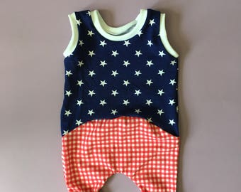fourth of july baby romper, fourth of july toddler romper, baby girl romper, toddler girl romper