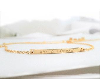 Dainty Personalized Bar Bracelet / Gold Initial Bracelet / Name Bar Bracelet / Customized Jewelry / Minimalistic Jewelry / B432