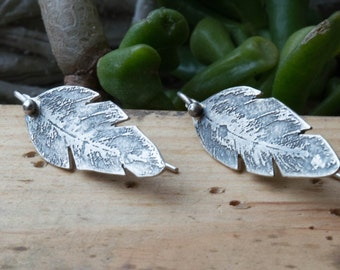 Sterling silver feather earrings, Handmade feather earrings, Sterling silver earrings, Boho jewelry,Artisan silversmith jewelry,Eched silver