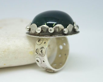 Green agate ring, Sterling silver green agate high dome (12 mm) ring, Unique ring, Agate jewelry, Boho silver ring, Statement ring,SIZE 9 US