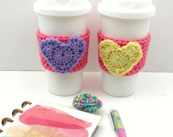 Pink Crochet Cup Cozy: Coffee/Tea Sleeve with Heart (Yellow or Purple)    [060]