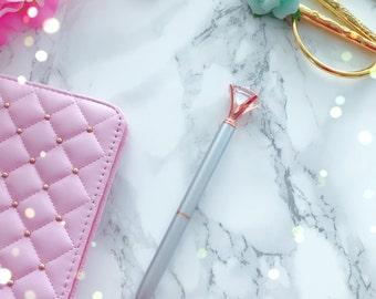Large Diamond Top Ballpoint Pen : SILVER MATTE Metal - Black Ink Rhinestone Crystal Gem Pen | Office Planner Desk AccessorY
