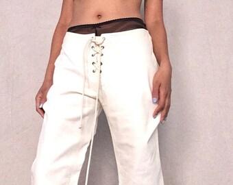CÉLINE Cream Leather Lace Up Pants