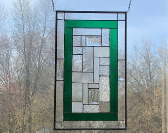 Green Geometric Stained Glass Panel