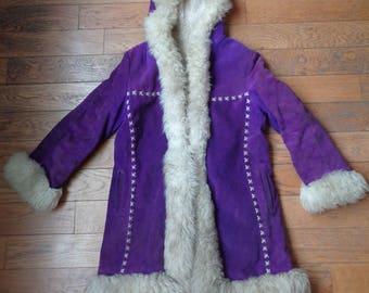 Vintage 60's 70's Purple Suede Afghan Coat Jacket Boho Woodstock S M 12