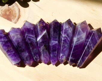 Beautiful Chevron Amethyst Wand Point, Small Amethyst Double Sided Wand, Reiki Healing, Crystal Quartz, Crystal Point, Chakra
