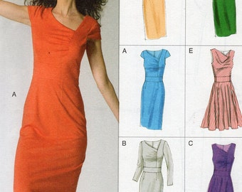 Vogue 8787 Sewing Pattern Free Us Ship Easy Option Dress 6 Looks Size 6/14 14/22 Bust 30 31 32 34 36 38 40 42 44 2012 plus size