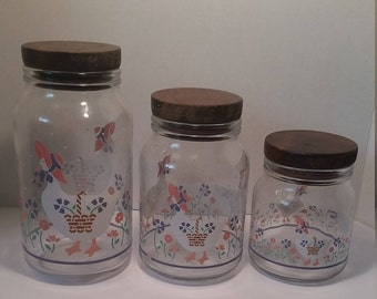 1987 CHD Anchor Hocking Geese Glass Canister Set