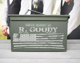 Personalized Ammo Box with Flag for Wedding, Father's Day and Personal Gift