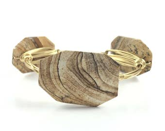 Wood Inspired Wire Wrapped Bangle - Natural Bracelet - Wire Jewelry - Gift for Her - Gift Under 25 - Boho Jewlery - Courtney And Courtnie