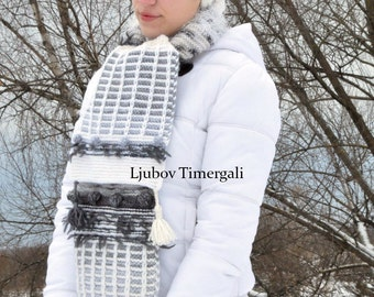 Knitted Scarf Crochet Hand Knit Long White Black Stripes Scarves Oversized Wool Winter Snood Fashion Clothing Fringed Neckwarmer Lady Scarf