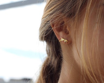 triangle ear climber - minimalist ear climbers -  gold earrings - ear crawlers -  Minimalist jewelry - Dainty earrings, leaves climbers