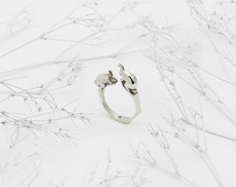 Rabbit Ring (Sterling Silver 3D Printed Rabbit Ring)