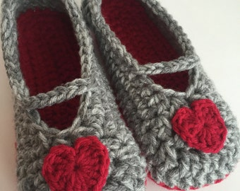 Crochet Valentine Heart Slippers, Women's Slippers, Red, Grey, Hearts, Maryjane