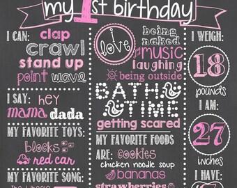 Pink Polka Dot Birthday Chalkboard / Girl First Birthday Chalkboard / Pink Polka Dot Birthday Chalkboard Sign / Polkadot Birthday Chalkboard