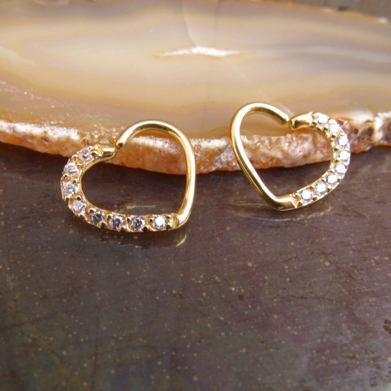 16 daith earrings daith earring 16g ear piercing ring gold hearts clear 1948