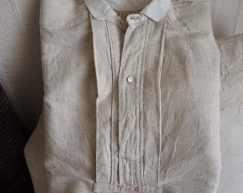 French Pure Hand Woven Hemp Men's Shirt/Nightshirt From Chateau De St Martory, Circa 1860, Hand Made and Stitched, Original Buttons