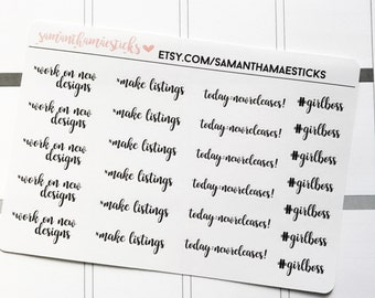 Etsy Owner Stickers Lettering for use with Erin Condren Lifeplanner™ Life Planner Happy Planner Stickers