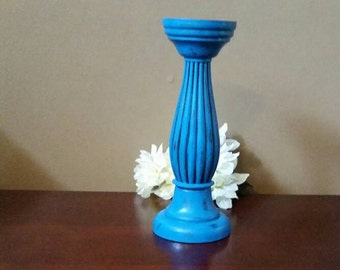Turquoise Candle Holder; Painted and Distressed Turquoise Candle Holder; Shabby Chic Candle Holder