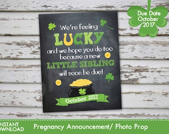 Saint Patricks Day Pregnancy Announcement, St. Patrick's Pregnancy Photo Prop OCTOBER 2017 DIY