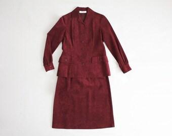 mollie parnis suit | ultra suede suit | maroon suit